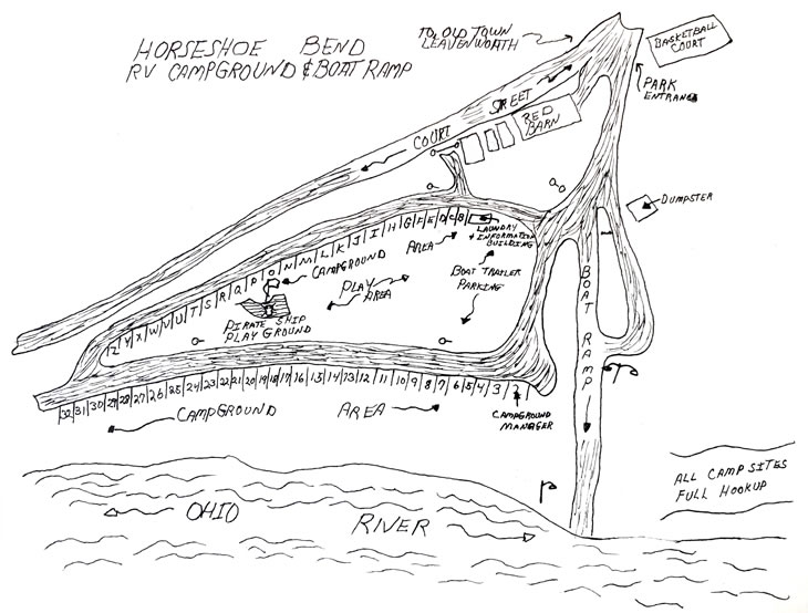 hand drawn map of Horseshoe Bend RV Campground & Boat Ramp